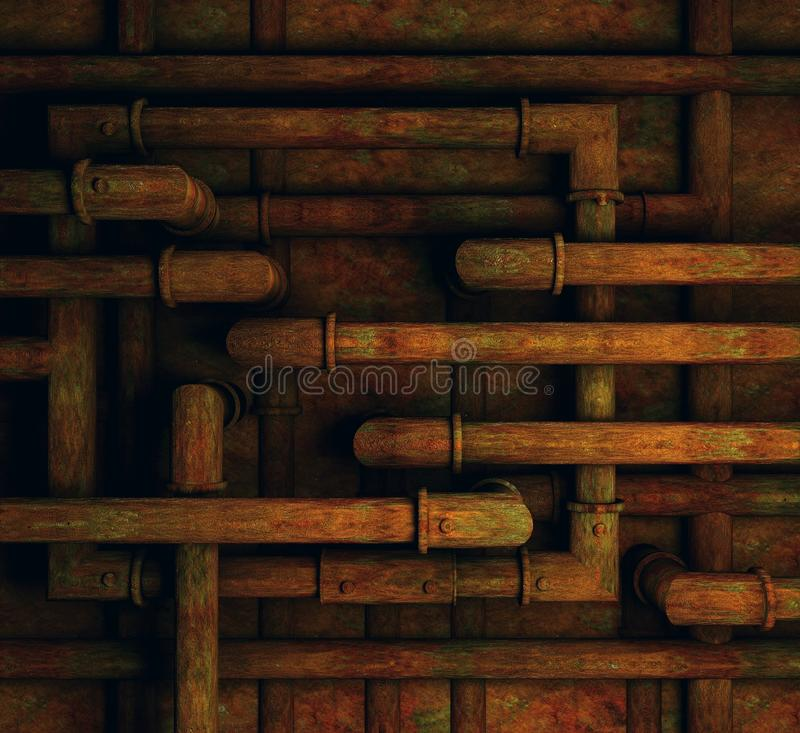 Rusty pipes background. Grungy rusted pipes on a basement wall royalty free illustration