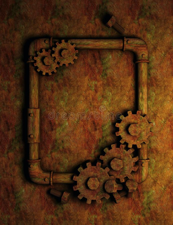 Rusty pipes and gears frame stock illustration