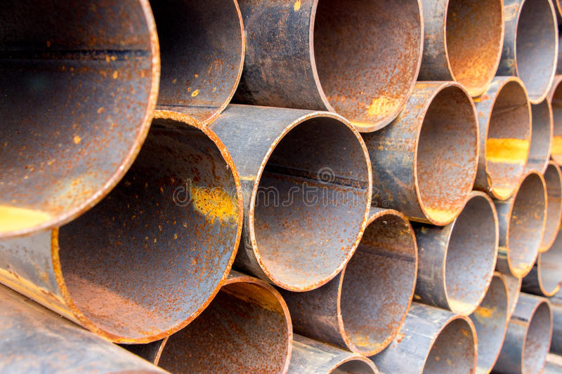 Rusty pipes in stock black and white stock images