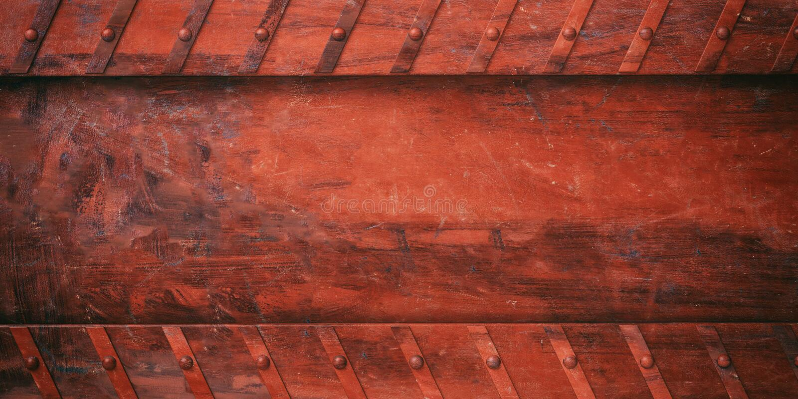 Rusty red metal plate with bolts background, banner. 3d illustration vector illustration