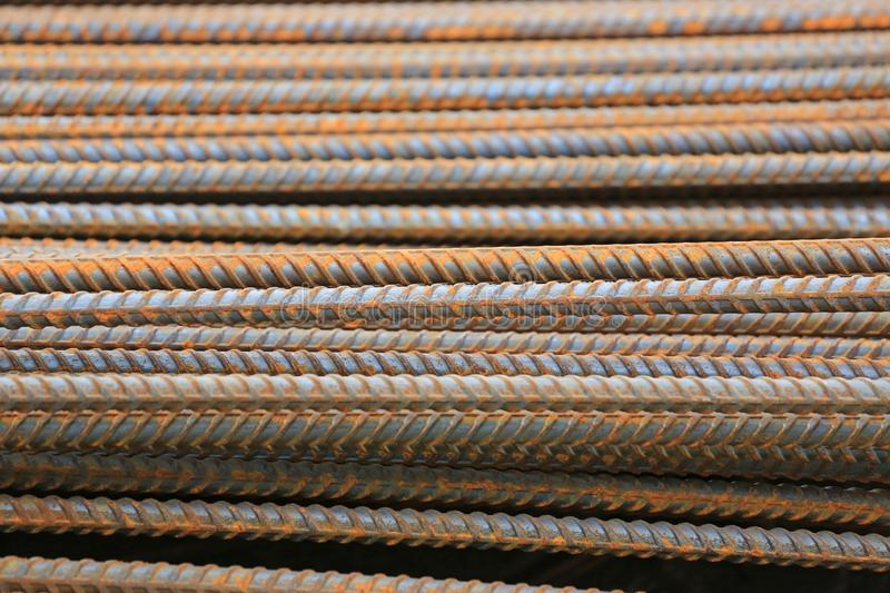 Rusty reinforcing Steel Bar background. Rebar for concrete construction work royalty free stock photography