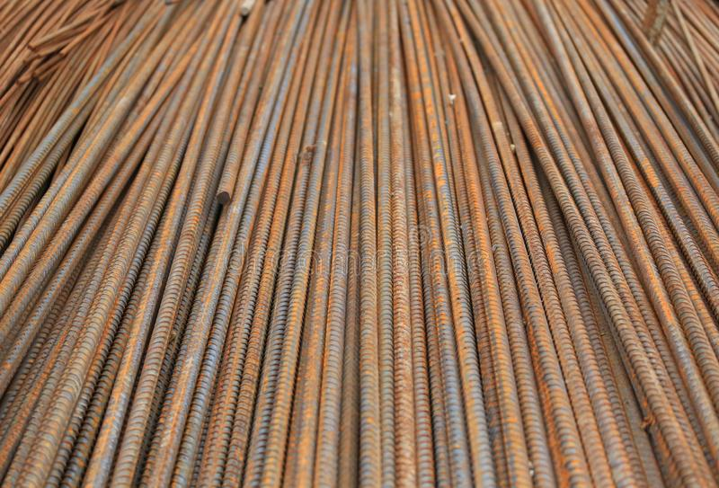 Rusty reinforcing Steel Bar background. Rebar for concrete construction work.  stock image