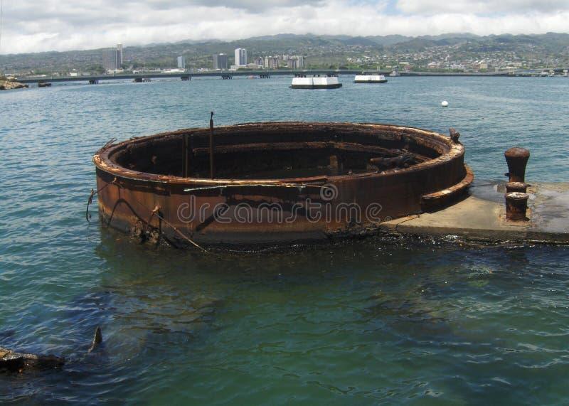 Rusty Relic no memorial do Pearl Harbor imagens de stock royalty free
