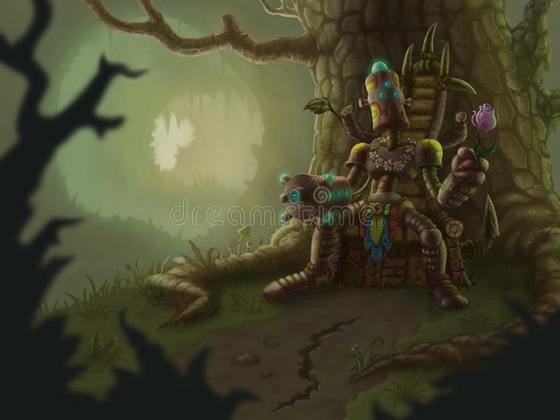 Robot-Chief with flower on throne in forest vector illustration