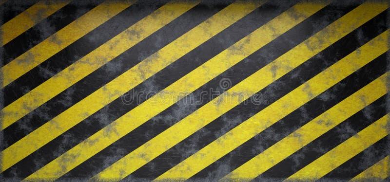 Rusty Scratched Grunge Hazard Striped que adverte a parede vazia 3d com referência a ilustração stock