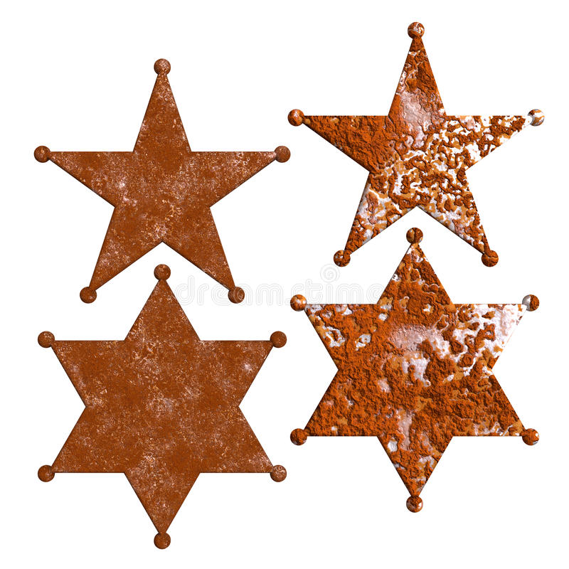 Rust sheriff badge star rustic texture. Isolated five and six points police star badge with rusty surface. Rust sheriff badges. PNG with transparent background royalty free illustration