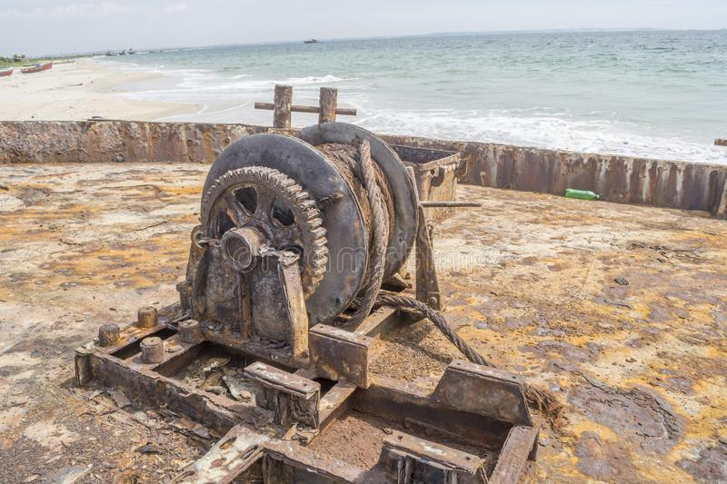 Rusty ship cemetery in Angola royalty free stock image