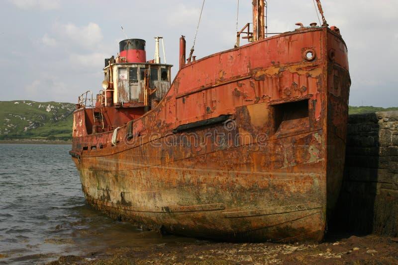 Rusty ship near Clifden, Ireland stock photo