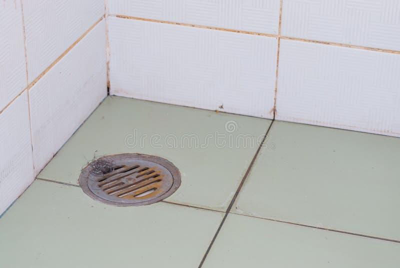 Rusty Shower Drain i toalett arkivbilder
