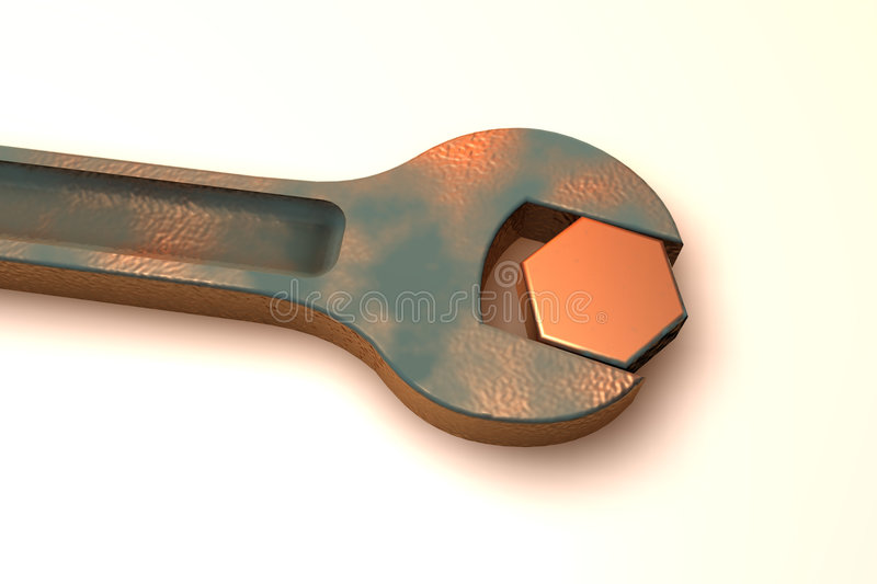 Rusty spanner. Turning a bolt