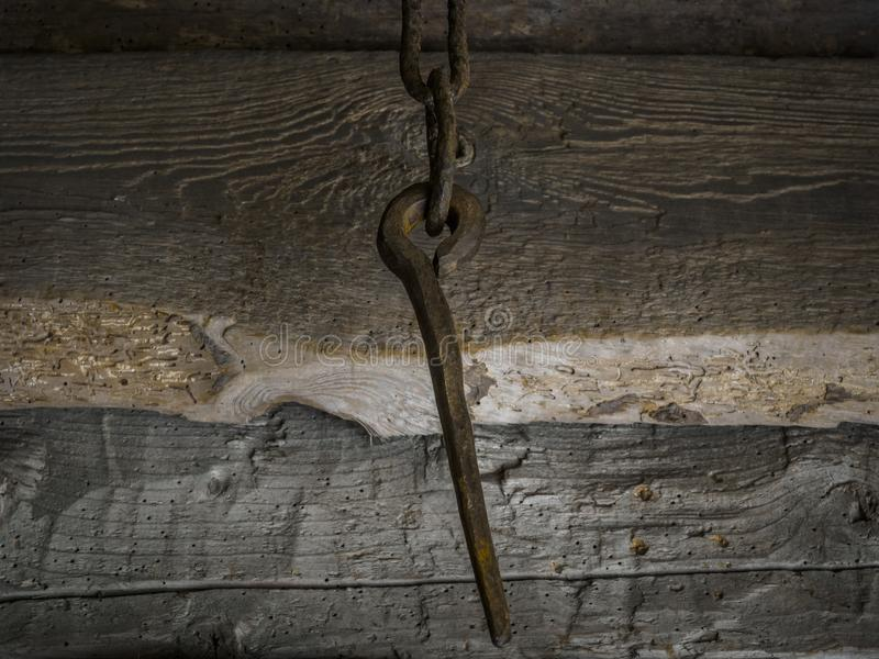 Rusty spike in a chain royalty free stock photography