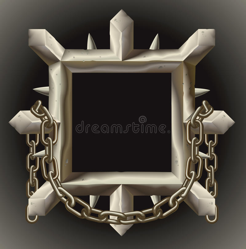 Free Rusty Spiky Metal Frame Border With Chain Stock Photography - 19628672