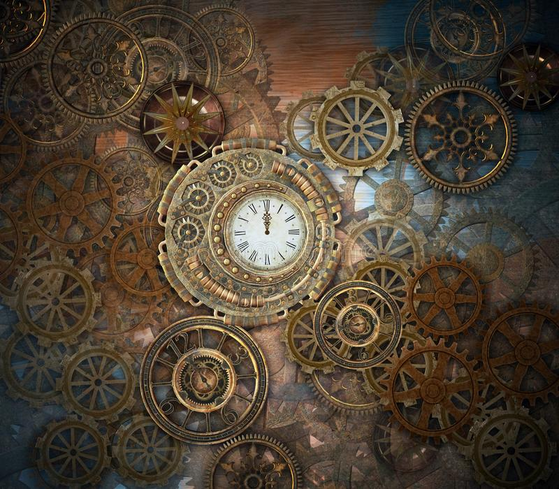 Steampunk cogwheels and an old fashioned clock. Rusty steampunk background with clock and different kinds of gears - 3D illustration royalty free illustration