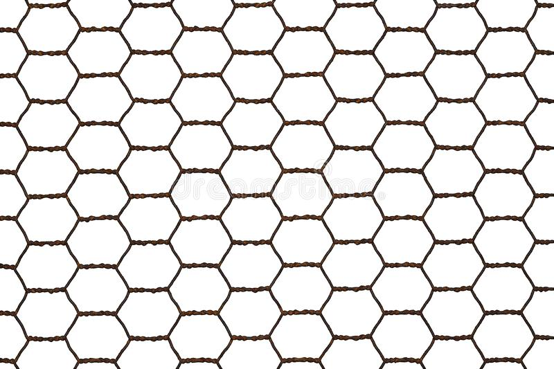 Rusty steel chicken wire netting isolated on a white background. royalty free stock photography