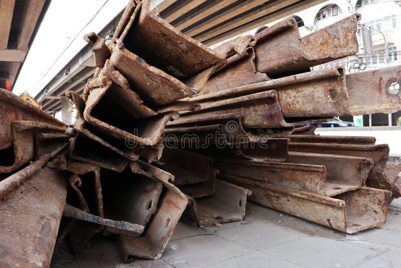Rusty Steel Larssen Sheet Piles photo stock