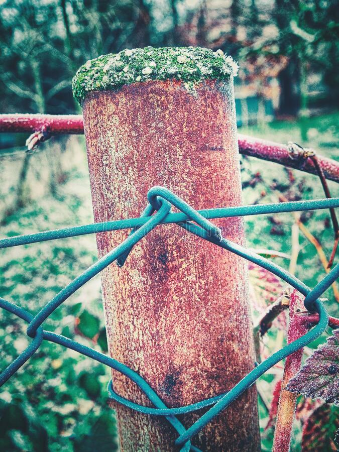 Rusty steel plank at the garden fence. Abstract rusty steel plank at the garden fence stock image