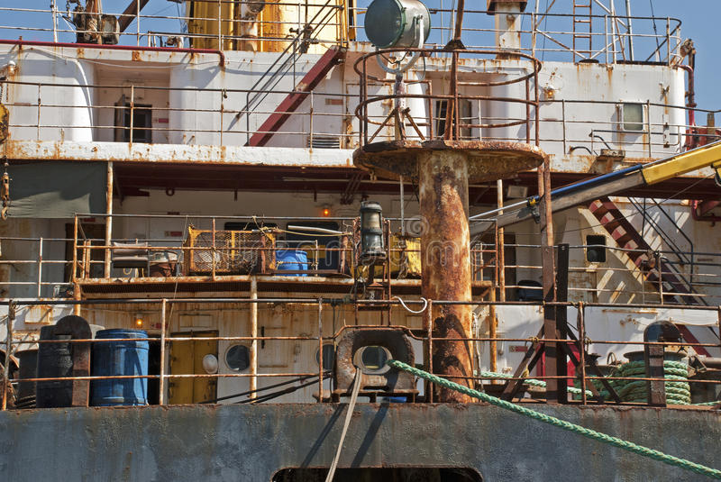Rusty Superstructure Of A Ship Stock Photo