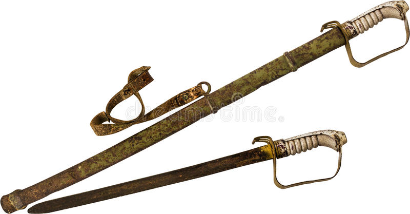 Rusty Sword e guaina isolati su fondo bianco fotografia stock libera da diritti