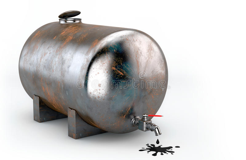 Rusty tank with oil royalty free stock image