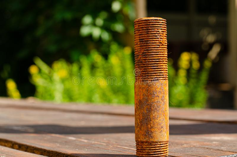 Rusty threaded pipe stock photography
