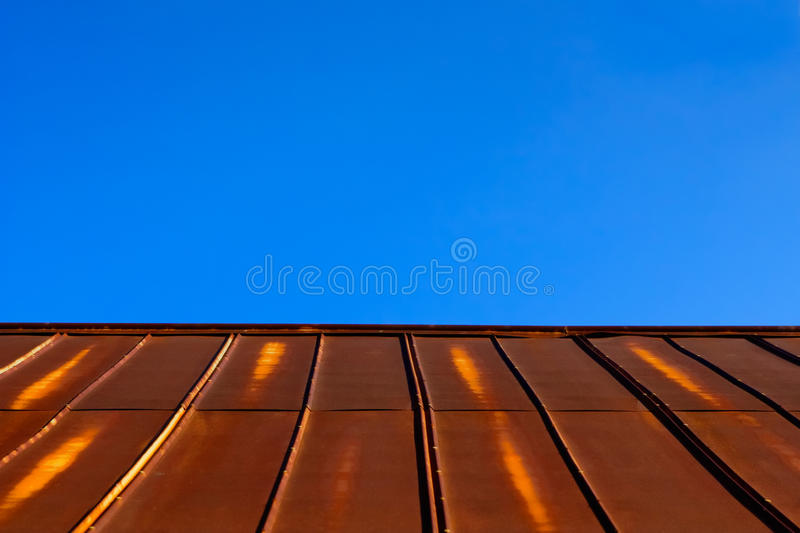 Download Rusty Tin Metal Roof U0026 Clear Blue Sky Stock Image   Image: 20895473