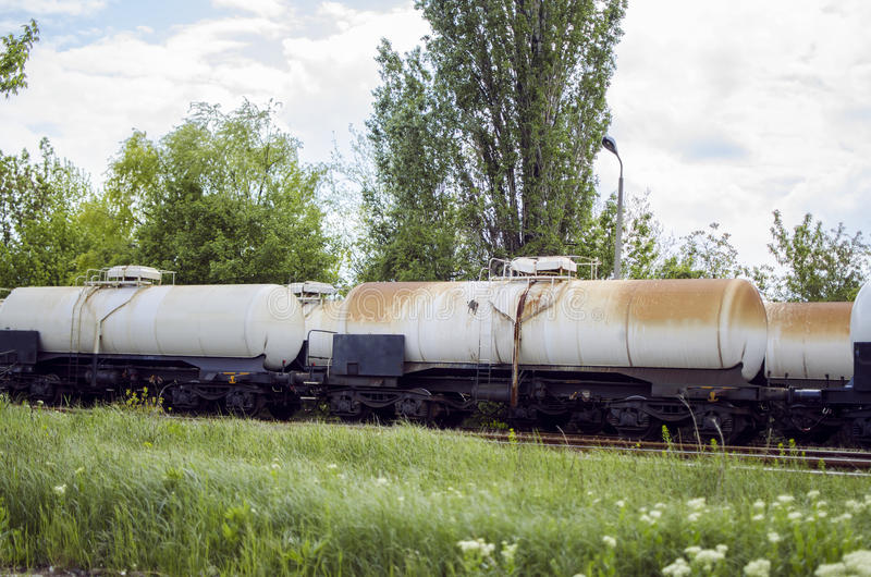 Abandoned Fuel And Oil Train Stock Photo