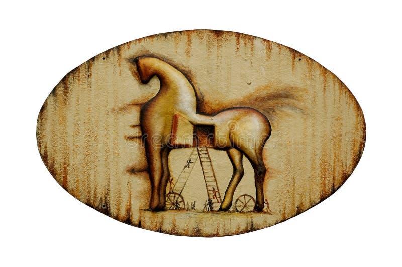 Rusty Trojan-Pferdeemblem (lokalisiert) lizenzfreie stockfotografie