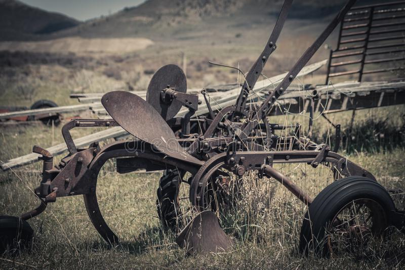 Rusty Vintage Horse Drawn Plow foto de archivo