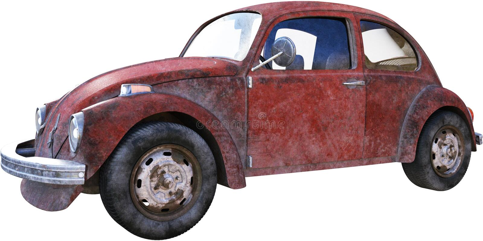 Rusty VW Volkswagen Beetle Isolated, Bug royalty free illustration