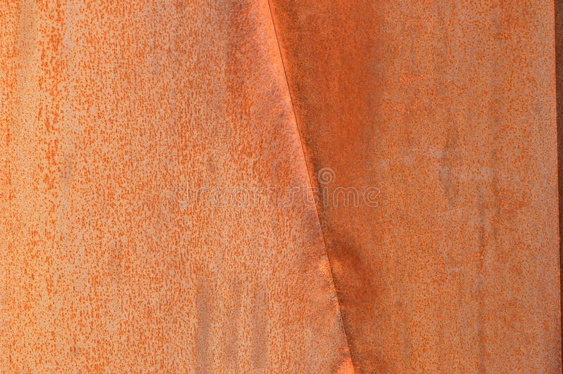 Rusty wall in Quebec, Canada. Red rusty metal wall in nature, Canada stock image