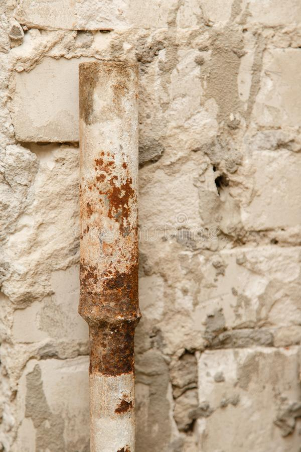 rusty water pipe after thirty years of operation. stock image