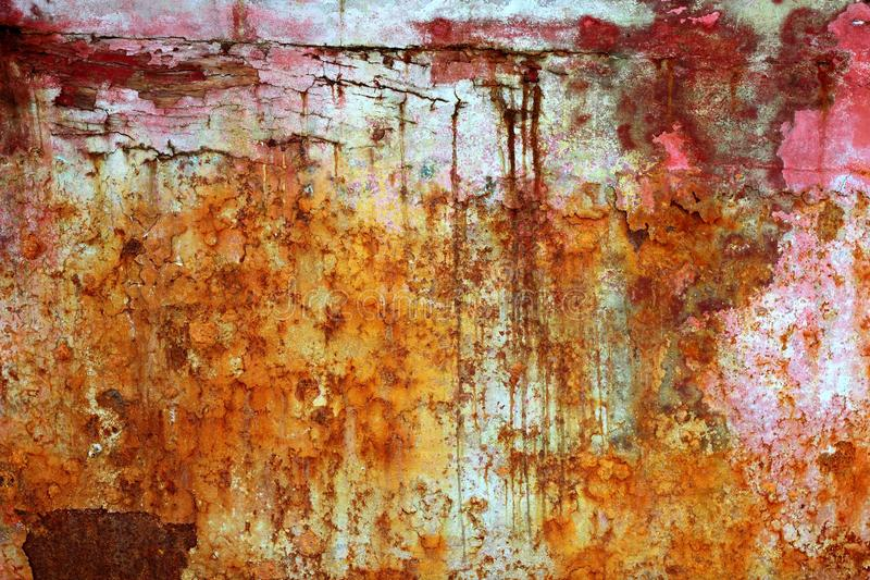 Rusty weathered painted iron aged metal royalty free stock images