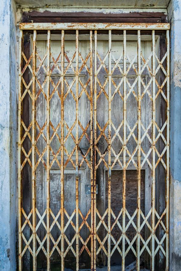 Rusty white metal doors vintage style texture. Old texture background royalty free stock images