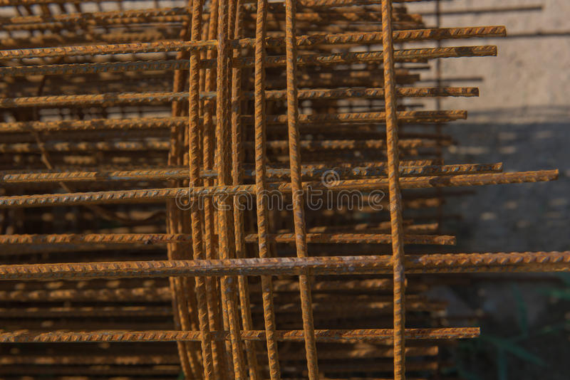 Rusty wire rolls for concrete floor work. Building construction royalty free stock image