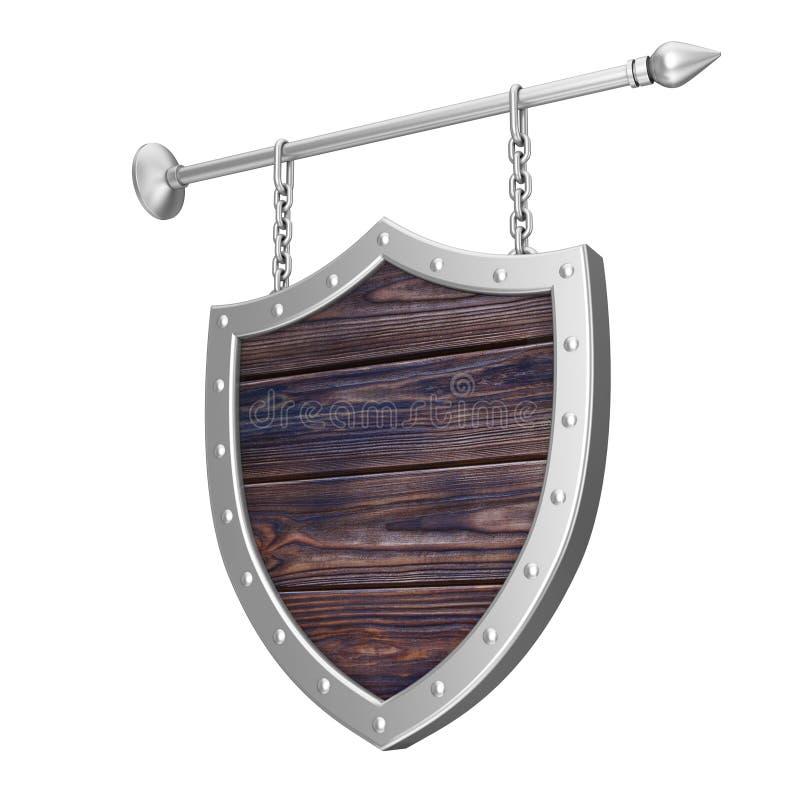 Rusty Wooden Signboard dado forma protetor com correntes rendição 3d ilustração royalty free