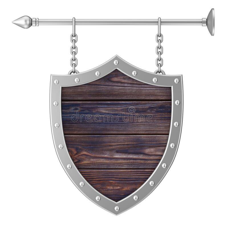 Rusty Wooden Signboard dado forma protetor com correntes rendição 3d ilustração do vetor