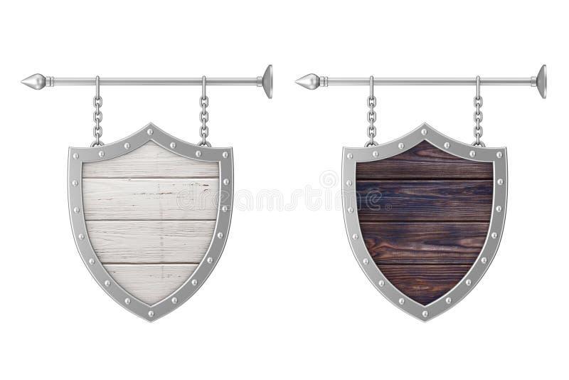Rusty Wooden Signboard dado forma protetor com correntes rendi??o 3d ilustração royalty free