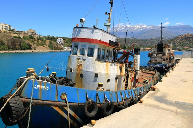 The rusty wreck of two vessels in agia Galini in Crete, Greece stock photos