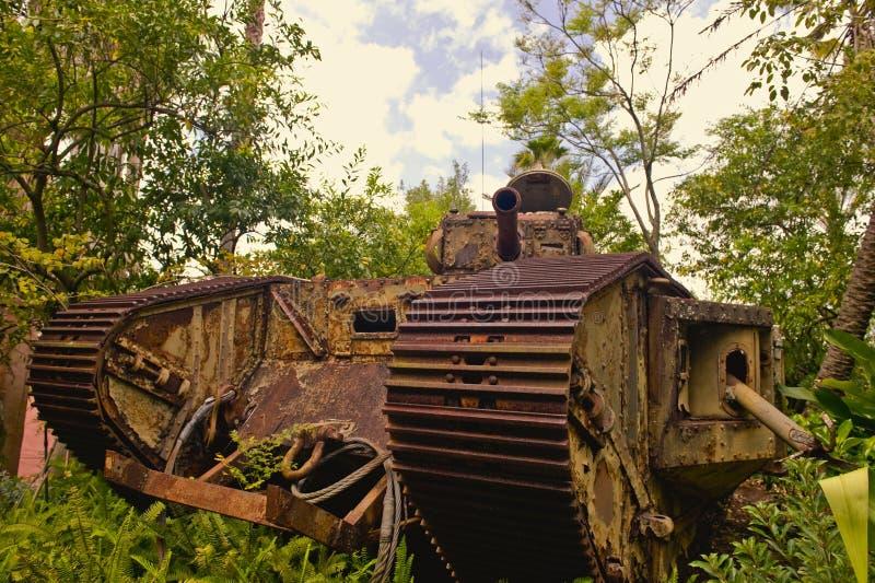 Rusty WWI German tank stock photo