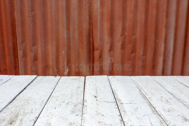 Rusty zinc steel old iron background texture and white wood stock photo