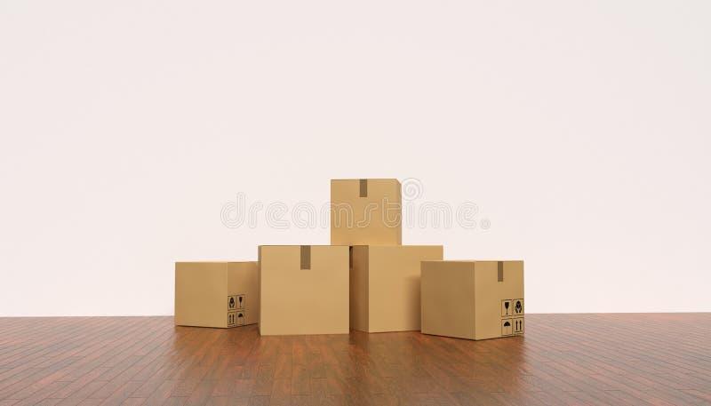 Ruszać się nowego domu pojęcie pudełek kartonu pusty pokój ilustracja pozbawione 3 d royalty ilustracja