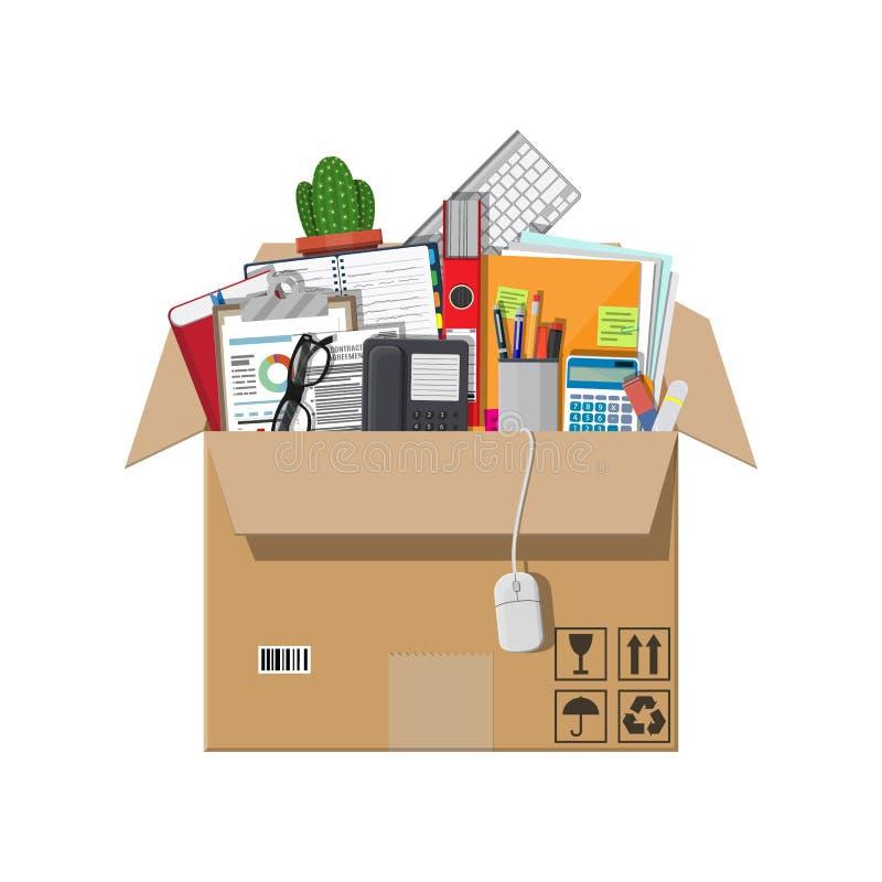Ruszać się nowy biuro pudełkowatego kartonu odosobneni cienie biały ilustracja wektor