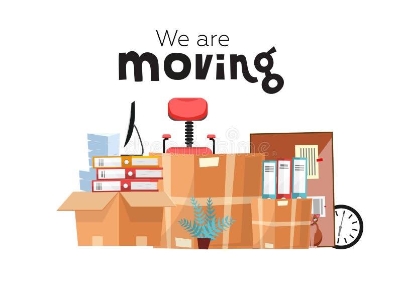 Ruszać się nowy biuro z pudełkami Biurowi akcesoria w kartonie odizolowywającym na białym tle - monitor, falcówki, sterta ilustracji