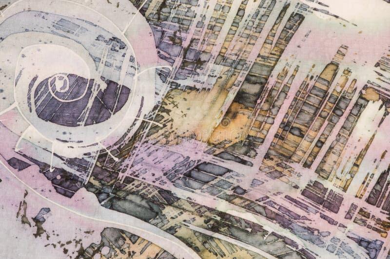 Ruszać się po spirali, rozpada się, gorący batik, tło tekstura, handmade na jedwabiu ilustracji