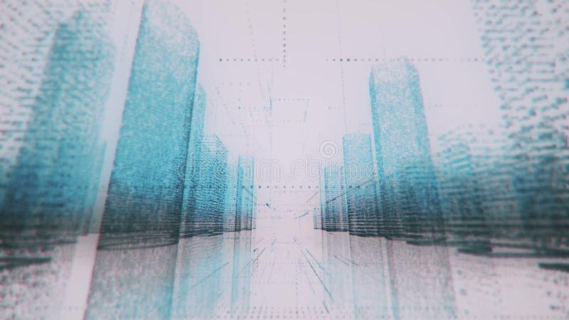 Ruszać się przez jaskrawego neonowego cyfrowego modela robić symbole nowożytny miasto i liczby w błękicie i czerni barwimy na bie royalty ilustracja