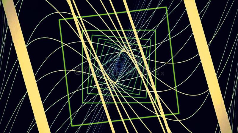 Rusza? si? przez neonowego prostego tunelu robi? proste kwadrat zieleni bramy i wygina? si? w?skie ? ilustracji