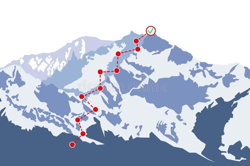 Ruta de la escalada a enarbolar Top de la monta?a con la bandera roja Concepto del ?xito de asunto Ejemplo del vector en estilo p stock de ilustración