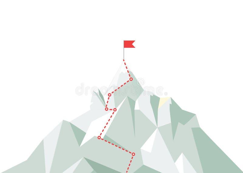 Ruta de la escalada a enarbolar Trayectoria del viaje del negocio en curso al pico del éxito Camino que sube a rematar Vector ilustración del vector