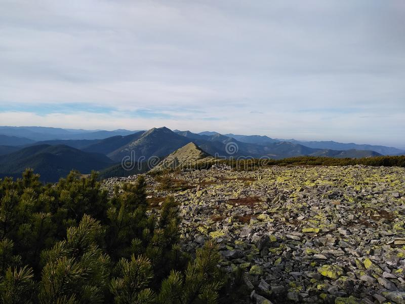 Ruta de la montaña para montar Sinyak de Bukovel Gorgany, Cárpatos ucranianos fotos de archivo