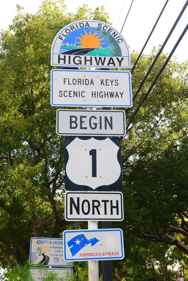 Ruta de los E.E.U.U. 1 punto inicial, Key West, la Florida imagen de archivo